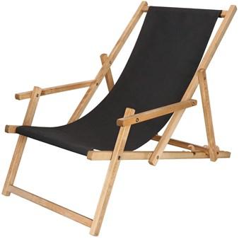 Leżak drewniany impregnowany z podłokietnikami czarny