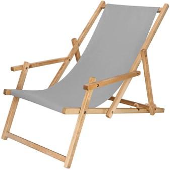 Leżak drewniany impregnowany z podłokietnikami popielaty