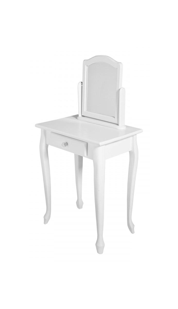 Biała Stylowa Barokowa Toaletka Z Lustrem Drewno Uchwyt Duży Uchwyt