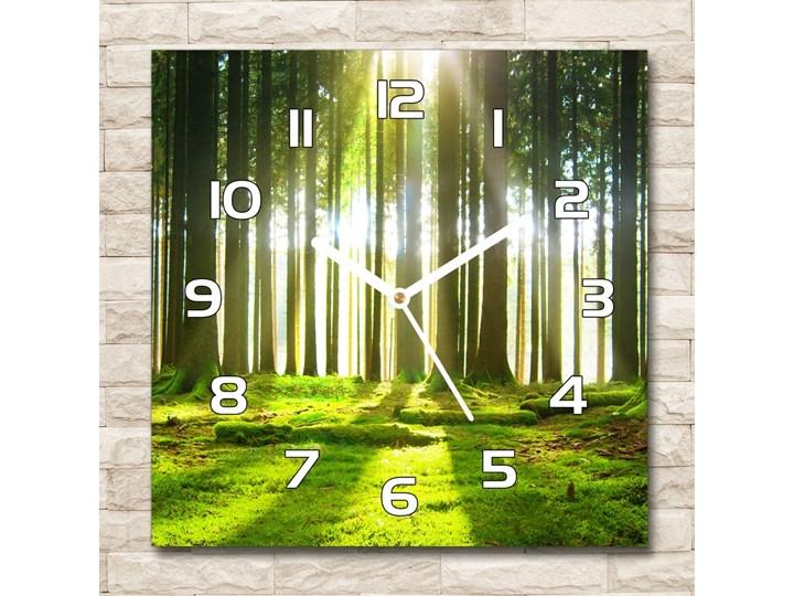 Zegar szklany kwadratowy Las w słońcu Szkło Kolor Zielony Zegar ścienny Styl Nowoczesny