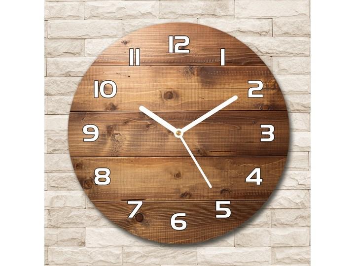 Zegar szklany okrągły Drewniane tło Drewno Szkło Styl Nowoczesny Zegar ścienny Pomieszczenie Salon