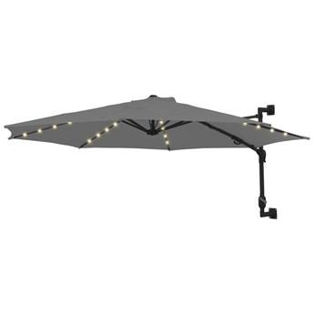 vidaXL Parasol ścienny z LED, na metalowym słupku, 300 cm, antracytowy