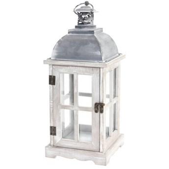 Lampion drewniany w stylu retro, 41 cm, biały