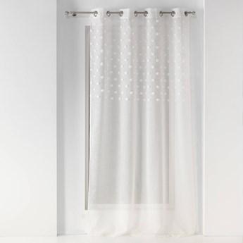 Firanka do salonu ze zdobieniem w kropki, na przelotkach,140 x 240 cm, biała