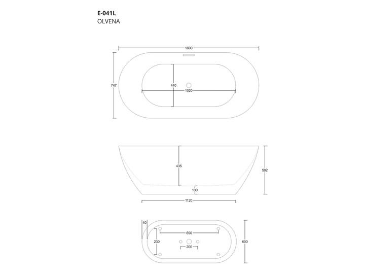Wanna wolnostojąca Corsan E041 Olvena 160 cm z wykończeniem chrom Stal Wolnostojące Akryl Kategoria Wanny