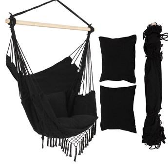 Czarny, wiszący fotel brazylijski z poduszkami w stylu BOHO XXL