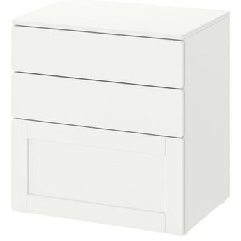 IKEA SMÅSTAD / PLATSA Komoda, 3 szuflady, Biały biały/biała rama, 60x42x63 cm