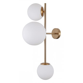 VAILANTE kinkiet 2 x 5W E14/1 x 5W E27 kula biała prosta nowoczesna lampa ścienna złoto ITALUX WL-31221-3-HBR