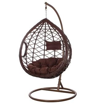 Fotel wiszący ogrodowy kokon brązowy z poduszkami