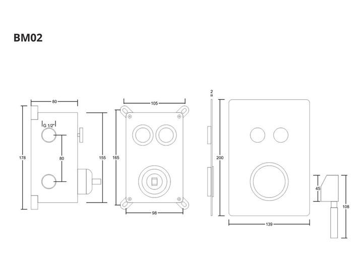 Prysznicowa bateria podtynkowa z przyciskami funkcyjnymi Corsan BM02BL Bateria ścienna Bateria prysznicowa Kolor Czarny
