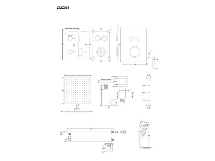 Prysznicowy zestaw podtynkowy Corsan chrom Wyposażenie Z termostatem