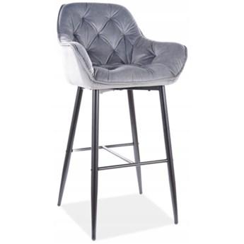 Krzesło Barowe CHERRY Hoker Szary Welur Loft