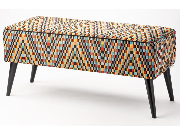 Ławka tapicerowana do przedpokoju Retro Barcelona Materiał nóżek Drewno Styl Vintage