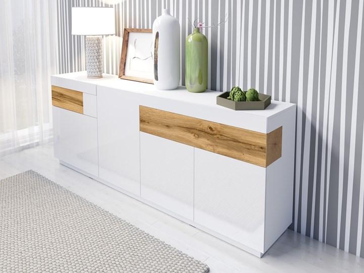 Komoda 25 SILKE : Wybierz kolor - Biały + Dąb Wotan/Biały połysk Drewno Kategoria Komody