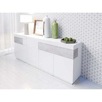 Komoda 25 SILKE : Wybierz kolor - Biały + Colorado beton/Biały połysk