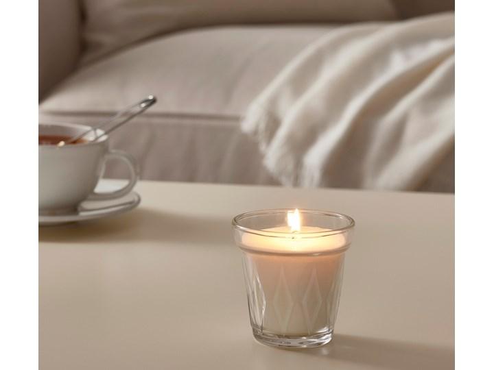 IKEA VÄLDOFT Świeca zapachowa w szkle, kwiat/szkło bezbarwne, 8 cm Kategoria Świeczniki i świece Świecznik Kolor Biały