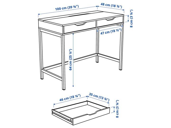 IKEA ALEX Biurko, Szaroturkusowy, 100x48 cm Kategoria Biurka Stal Szerokość 100 cm Płyta MDF Kolor Szary