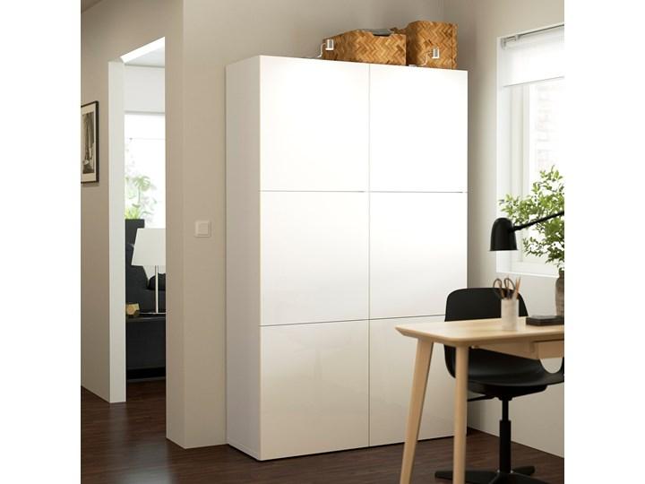 IKEA BESTÅ Kombinacja z drzwiami, Biały/Selsviken połysk/biel, 120x42x193 cm Głębokość 42 cm Płyta laminowana Szerokość 120 cm Ilość drzwi Dwudrzwiowe