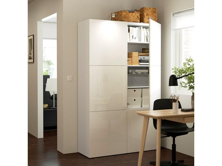 IKEA BESTÅ Kombinacja z drzwiami, Biały/Selsviken połysk/biel, 120x42x193 cm Płyta laminowana Głębokość 42 cm Szerokość 120 cm Typ Modułowa Pomieszczenie Sypialnia