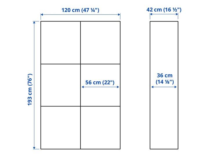 IKEA BESTÅ Kombinacja z drzwiami, Biały/Selsviken połysk/biel, 120x42x193 cm Płyta laminowana Szerokość 120 cm Głębokość 42 cm Typ Modułowa Kategoria Szafy do garderoby