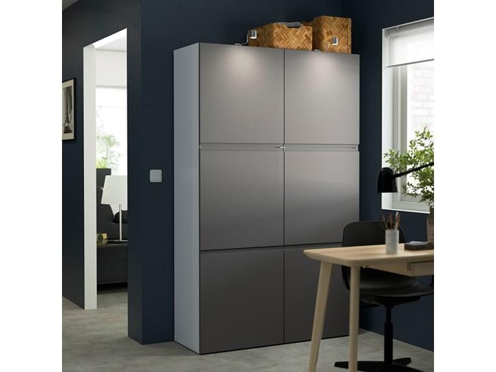IKEA BESTÅ Kombinacja z drzwiami, Biały/Västerviken ciemnoszary, 120x42x193 cm Głębokość 42 cm Stal Metal Tworzywo sztuczne Szerokość 120 cm Plastik Ilość drzwi Dwudrzwiowe
