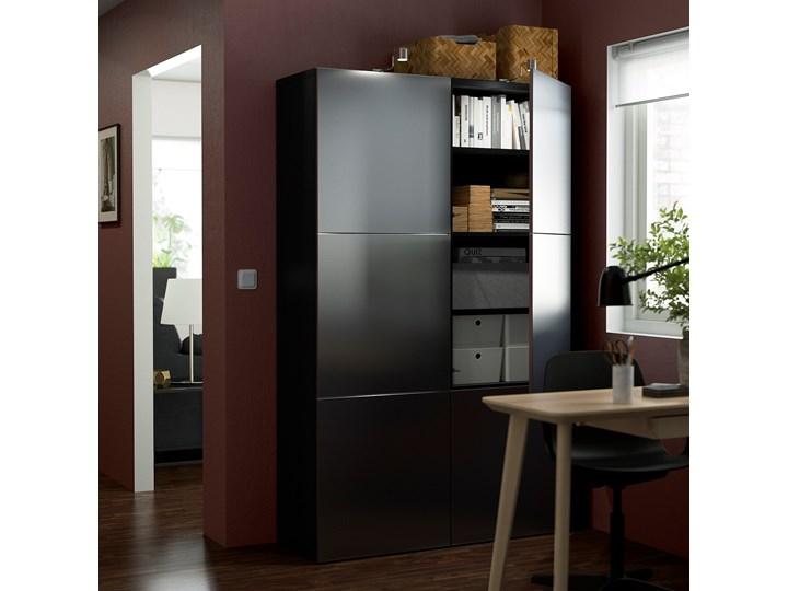 IKEA BESTÅ Kombinacja z drzwiami, Czarnybrąz/Riksviken efekt szczotkowanej ciemnej cyny, 120x42x193 cm Metal Tworzywo sztuczne Szerokość 120 cm Głębokość 42 cm Plastik Stal Pomieszczenie Sypialnia