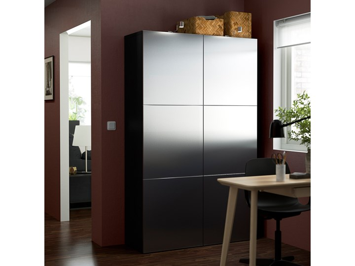 IKEA BESTÅ Kombinacja z drzwiami, Czarnybrąz/Riksviken efekt szczotkowanej ciemnej cyny, 120x42x193 cm Szerokość 120 cm Tworzywo sztuczne Głębokość 42 cm Stal Plastik Metal Kategoria Szafy do garderoby Ilość drzwi Dwudrzwiowe