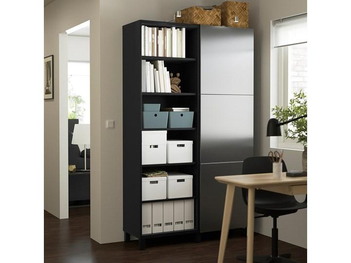 IKEA BESTÅ Kombinacja z drzwiami, Czarnybrąz/Riksviken efekt szczotkowanej ciemnej cyny, 120x42x202 cm Szerokość 120 cm Metal Tworzywo sztuczne Plastik Głębokość 42 cm Drewno Stal Kategoria Szafy do garderoby