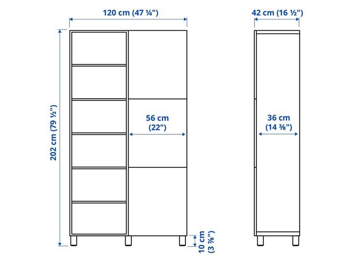 IKEA BESTÅ Kombinacja z drzwiami, Czarnybrąz/Riksviken efekt szczotkowanej ciemnej cyny, 120x42x202 cm Głębokość 42 cm Tworzywo sztuczne Kategoria Szafy do garderoby Drewno Szerokość 120 cm Metal Plastik Stal Rodzaj frontów Mat