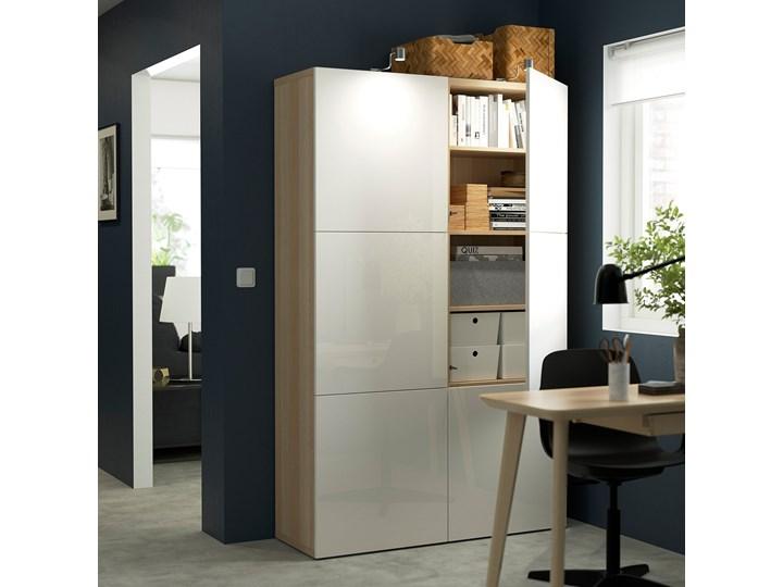 IKEA BESTÅ Kombinacja z drzwiami, Dąb bejcowany na biało/Selsviken połysk/biel, 120x42x193 cm Płyta MDF Płyta meblowa Płyta laminowana Kategoria Szafki i regały Drewno Kolor Beżowy