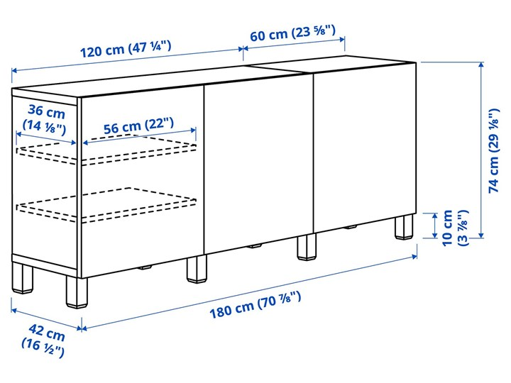 IKEA BESTÅ Kombinacja z drzwiami, Dąb bejcowany na biało/Selsviken/Stubbarp wysoki połysk beż, 180x42x74 cm Drewno Głębokość 42 cm Płyta MDF Wysokość 42 cm Z szafkami Szerokość 180 cm Pomieszczenie Pokój nastolatka