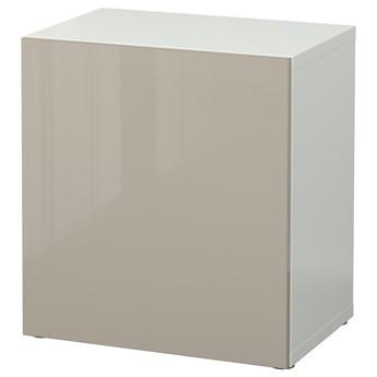 IKEA BESTÅ Szafka z drzwiczkami, Biały/Selsviken wysoki połysk beż, 60x42x64 cm