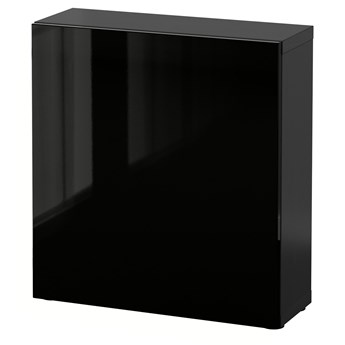 IKEA BESTÅ Szafka z drzwiczkami, Czarnybrąz/Selsviken połysk/czarny, 60x22x64 cm