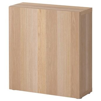 IKEA BESTÅ Szafka z drzwiczkami, Dąb bejcowany na biało/Lappviken dąb bejcowany na biało, 60x22x64 cm