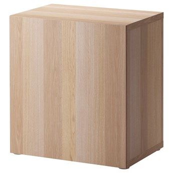 IKEA BESTÅ Szafka z drzwiczkami, Dąb bejcowany na biało/Lappviken dąb bejcowany na biało, 60x42x64 cm