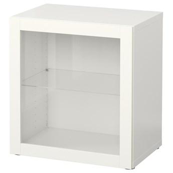 IKEA BESTÅ Witryna, Biały/Sindvik białe szkło przezroczyste, 60x42x64 cm