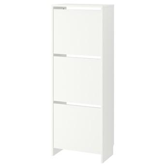 IKEA BISSA Szafka na buty, 3 przegrody, biały, 49x28x135 cm