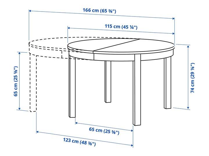 IKEA BJURSTA Stół rozkładany, Biały, 115/166 cm Drewno Pomieszczenie Stoły do jadalni Płyta MDF Szerokość 115 cm Długość 115 cm Kształt blatu Okrągły