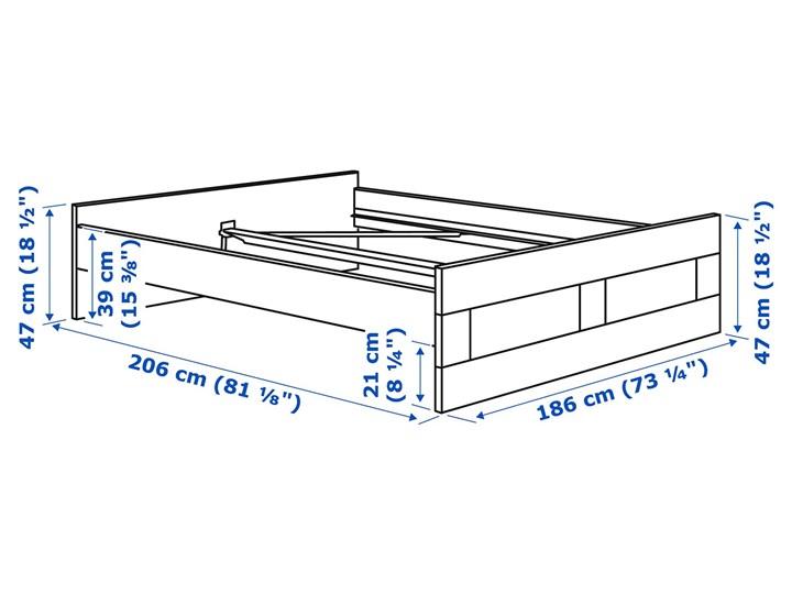 IKEA BRIMNES Rama łóżka, biały/Leirsund, 180x200 cm Łóżko drewniane Tkanina Kategoria Łóżka do sypialni Pojemnik na pościel Bez pojemnika
