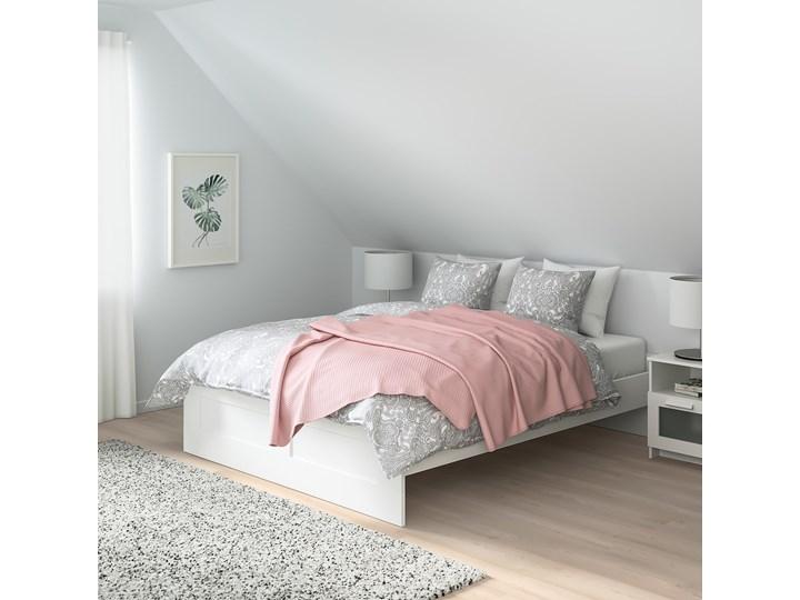 IKEA BRIMNES Rama łóżka, biały/Leirsund, 160x200 cm Łóżko drewniane Kategoria Łóżka do sypialni Tkanina Pojemnik na pościel Bez pojemnika