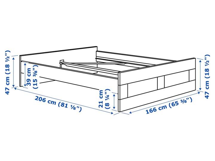 IKEA BRIMNES Rama łóżka, biały/Lönset, 160x200 cm Łóżko drewniane Kategoria Łóżka do sypialni Tkanina Pojemnik na pościel Bez pojemnika