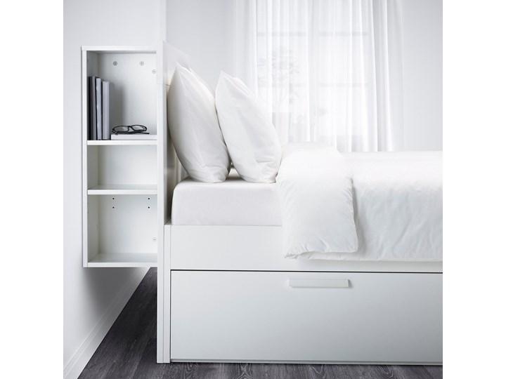 IKEA BRIMNES Rama łóżka z pojemnikiem, zagłówek, biały/Leirsund, 160x200 cm Łóżko drewniane Kategoria Łóżka do sypialni