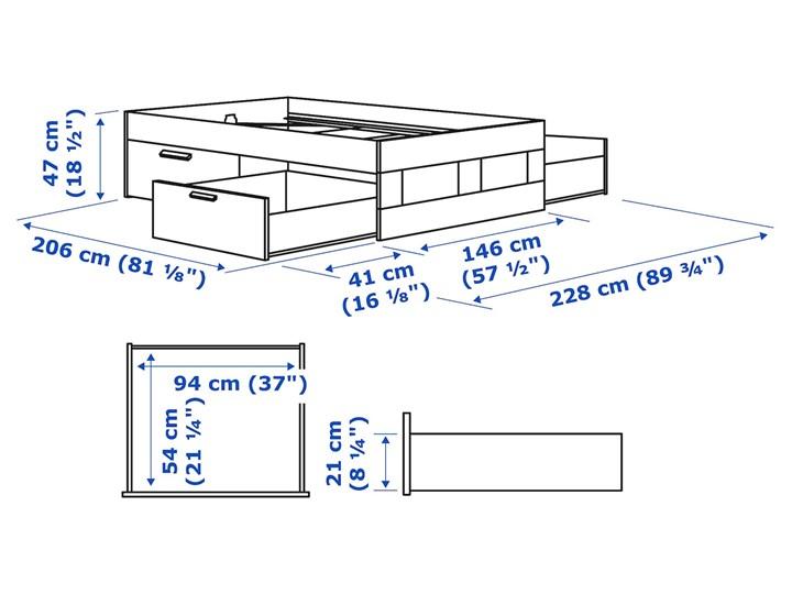 IKEA BRIMNES Rama łóżka z szufladami, biały/Leirsund, 140x200 cm Tkanina Łóżko drewniane Kategoria Łóżka do sypialni