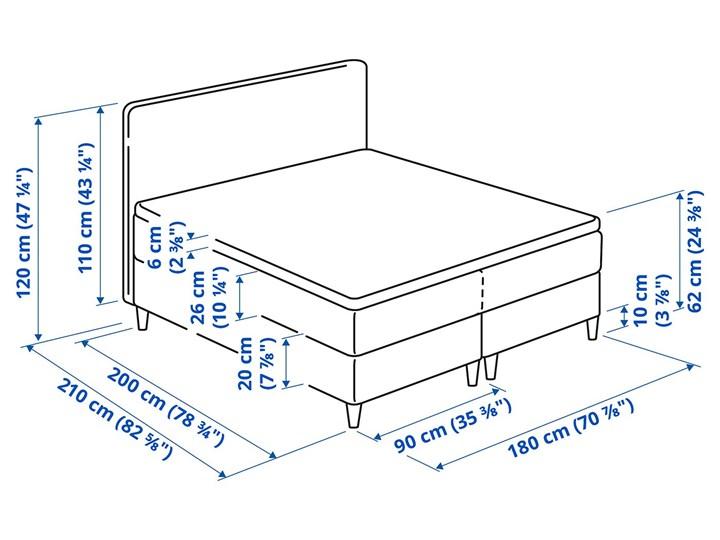 IKEA DUNVIK Łóżko kontynentalne, Vatneström twardy/średnio twardy/Tistedal ciemnoszary, 180x200 cm Łóżko tapicerowane Styl Klasyczny