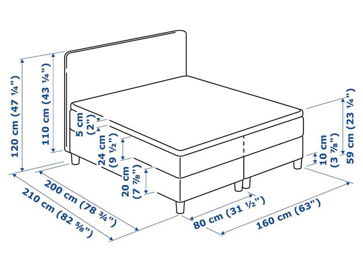 IKEA DUNVIK Łóżko kontynentalne, 160x200 cm Kategoria Łóżka do sypialni Kolor Szary