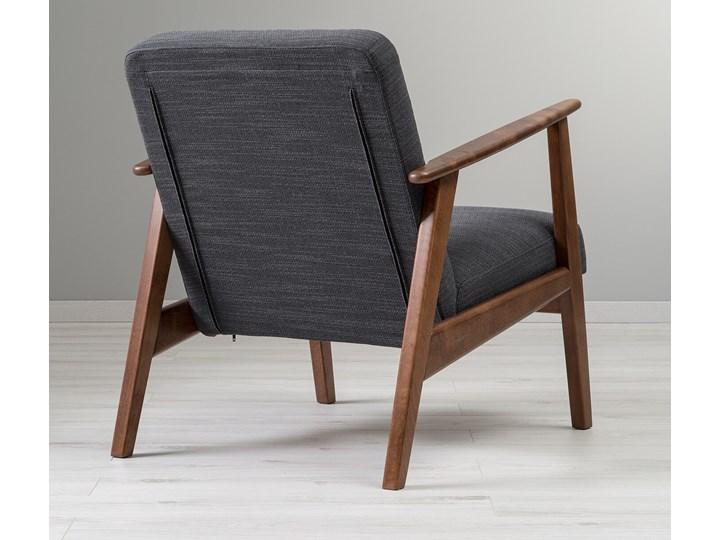 IKEA EKENÄSET Fotel, Hillared antracyt, Szerokość: 64 cm Tworzywo sztuczne Drewno Wysokość 76 cm Stal Bawełna Fotel inspirowany Tkanina Głębokość 78 cm Styl Skandynawski