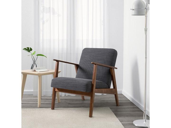 IKEA EKENÄSET Fotel, Hillared antracyt, Szerokość: 64 cm Stal Bawełna Tkanina Głębokość 78 cm Fotel inspirowany Tworzywo sztuczne Wysokość 76 cm Drewno Styl Klasyczny