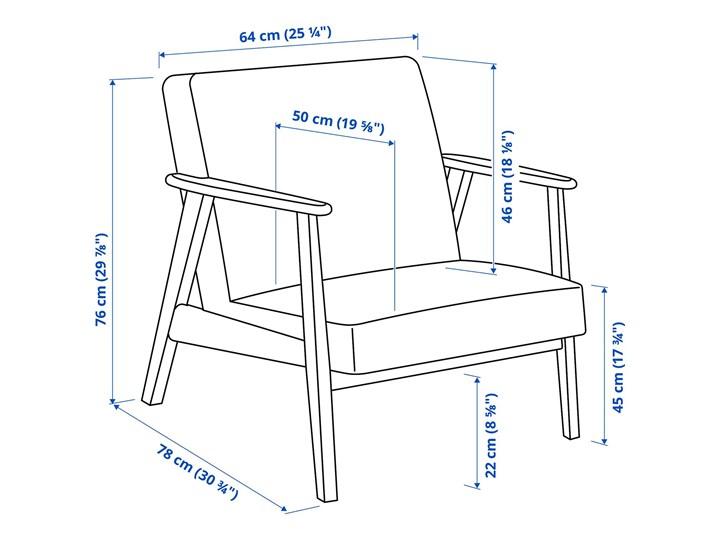 IKEA EKENÄSET Fotel, Hillared antracyt, Szerokość: 64 cm Bawełna Drewno Wysokość 76 cm Styl Vintage Fotel inspirowany Tkanina Tworzywo sztuczne Głębokość 78 cm Stal Kategoria Fotele do salonu