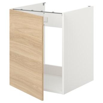 IKEA ENHET Szafka pod zlewozm/drzwi, biały/imit. dębu, 60x62x75 cm