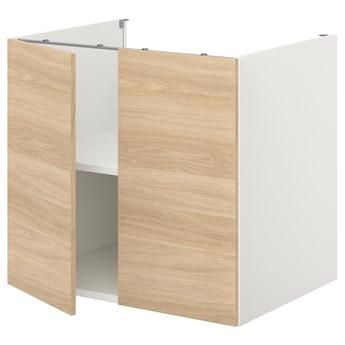 IKEA ENHET Szafka stojąca z półką/drzwi, biały/imit. dębu, 80x62x75 cm